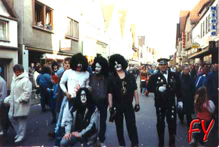 Myself as Ace and a few friends dressed as KISS in Germany back in 1989.