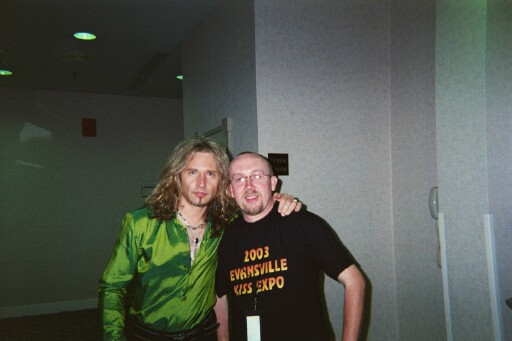 Eric Singer and me at the Evansville KISS on June 7, 2003.